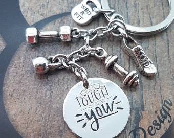Keychain Life is Tough but so are You,Dumbbell,Barbell,Kettlebell & Your Motivational Word.Gym Gifts,Bodybuilding,Fitness,Motivational gifts