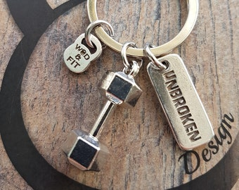 Keychain Big Clean Complex Workout Dumbbell & Motivational Word,Bodybuilding Jewelry,Fitness Gift,Fit Girl,No Pain,Coach Gift,Cross Fit Gift