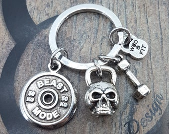 Keyring Wittman Skull Kettlebell Workout Fitness Jewelry Bodybuilding,Crossfit, Motivation,Gym Coach Gift,Kettlebell,Dumbbell,Wod and Fit,