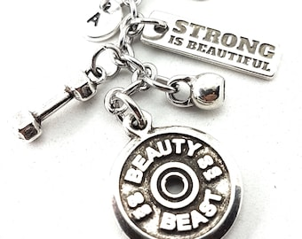 Keychain Beauty Beast,Dumbbell,Kettlebell Motivation & Initial.Bodybuilding,Fitness Gift,Crossfit Jewelry,Weightlifter,Gym Gifts,Sport Gift