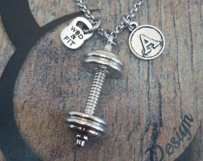 Barbell & Initial Letter Necklace.Fitness Workout,Kettlebell,weight lifting,Bodybuilding Jewelry,Personalized,Coach Gift,CrossTrain Gift Wod