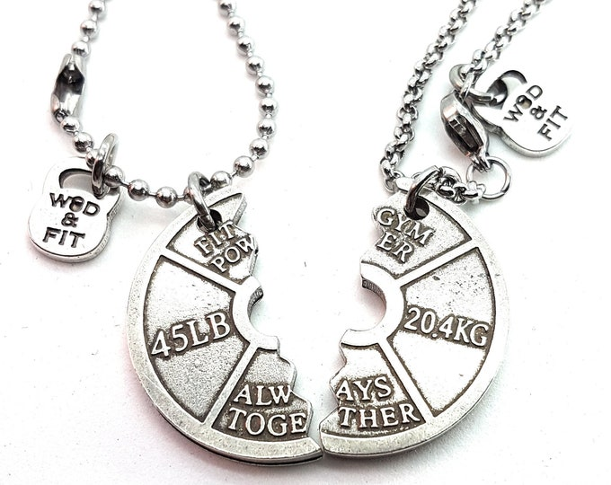 Couple Necklaces Weight Plate 45lbs Always Together.Train Together/Stay Together.Weightlifter,Fitness Girl,Fitmom Bodybuilding,Couples Gift