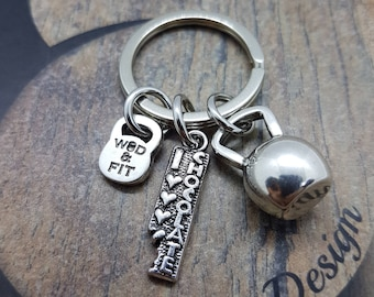 Keyring Fitness I Love Chocolate two Passions Chocolate & weight.Kettlebell,Weight Plate,Barbell,Dumbbell,Fitness jewelry,Cross Fit,Sport
