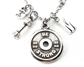 Necklace FitPlate 50kg Santiago Workout Motivational Weight Plate,Dumbbell & Initial Letter.Gift,Bodybuilding,Jewelry Fitness,Crossfit Gift