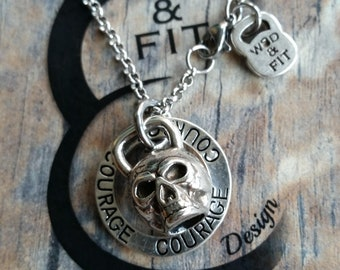 Skull Kettlebell Necklace Workout & Motivation Fitness Jewelry Bodybuilding,Personalized gift,Sport jewelry,FitMom Fit Girl Gift Wod and Fit