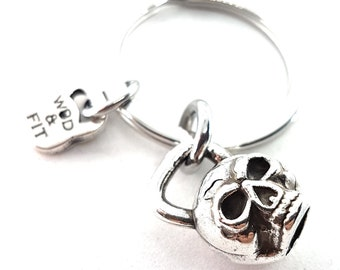 Keyring Kettlebell Skull Workout.Fitness Jewels -Gym Gift - Bodybuilding Team Set Gift-Skull jewels- skull gifts -Crossfit Gift Wod and Fit