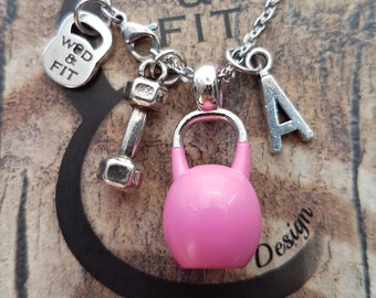 Necklace Kettlebell Color Dumbbell Hex & Initial Letter.Bodybuilding,Motivational Jewelry,Coach gift,Fitness,FitMom,FitGirl,Crosstraining