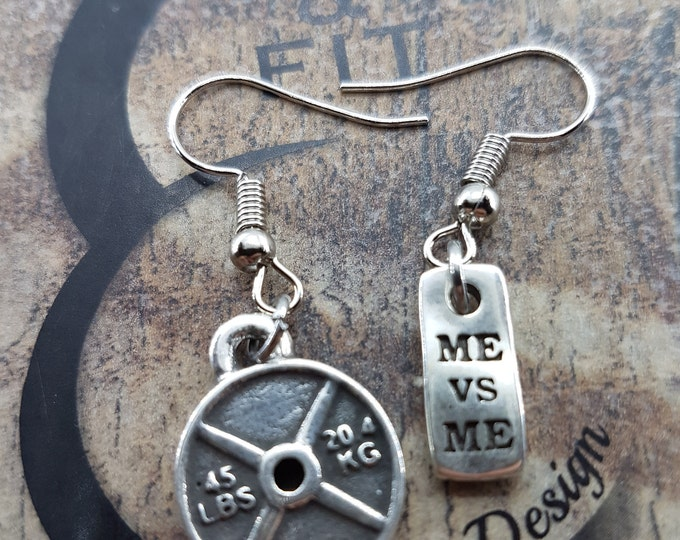 Earrings Gym Power Workout Motivation,Gym Jewelry,Bodybuilding,Dumbbell,Fit Girl,FitMom,Cross Fit Girl,Women Earrings,Fitness Gift,Kettlebel
