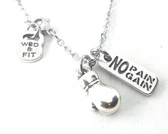 Boxing Necklace Boxing Glove Motivation Gift - Boxing Coach Gif - Boxing love gifts - Gym Gifts -  WOD & FIT