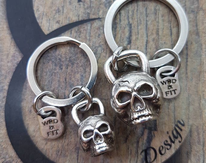 Keyring Kettlebell Skull Workout.Fitness Jewelry,Gym Gift,Motivational gift,Wod,Coach gift,Skull jewelry,skull gifts,Wod and Fit,Motivation