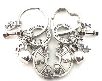 Couple Keychain You and Me FitPlate Always Together Rx Workout.Kettlebell,Dumbbell,Initial.Bodybuilding,Fitness Gift,Gym Gifts,Crossfit Gift