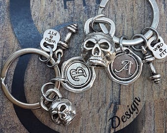 Keyring Kettlebell Skull Workout.Fitness,Workout Jewelry,Gym Gigt,Motivational gift,Wod,Coach gift,Skull jewelry,skull gifts,Crosstraining