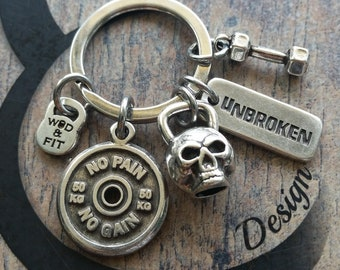 Keyring The Seven Workout Skull Kettlebell,Motivational FitPlate Bodybuilding Jewelry Fitness,Cross Training,Best Coach,Fit Girl,Wod and Fit