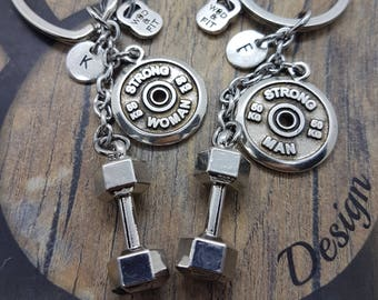 Couple Keychain Dumbbell Hex FitPlate Strong Man-Strong Woman Workout,Joyas Bodybuilding,Fitness Gift,Couple Jewels,Gift Gym,Cross Fit Gift,