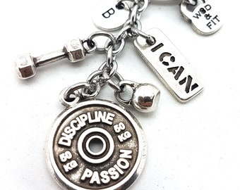Keychain Discipline Passion Workout,Dumbbell,Kettlebell,Motivation & Initial.Sport,Fit Mom,Bodybuilding,Crossfit Gift,Gym Gifts,Fitness Gift