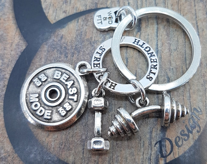 Keychain AMRAP Workout.Barbell & Motivation Jewelry,Bodybuilding,Gym Gifts,FitMom,No pain No Gain,Fitness Jewelry,Crosstraining Gift,Fitgirl