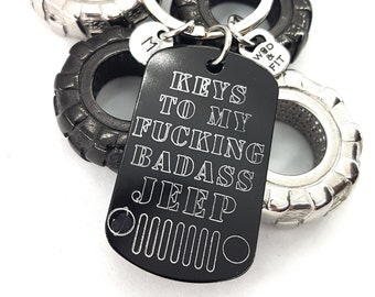 Keychain Keys To My Fucking BADASS Jeep Classic Grille Gift - Jeep Wrangler Accessories -Jeep - Jeep Gifts For Her - Jeep Wrangler - Jeep