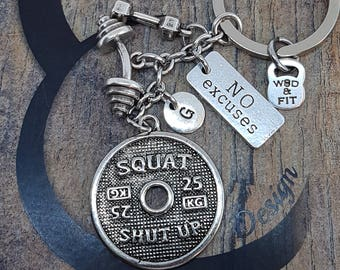 Keychain Squat Clean Workout Jewelry Bent Barbell,Dumbbell,Motivation & Initial.Fitness,Bodybuilding,Weight,Coach Gift,Gym Gift,Crosstrain