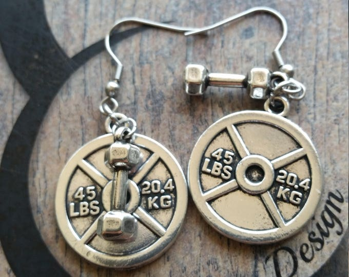 Earrings Weight Plate & Dumbbell Hex Workout,Fitness Weight Lifting Kettlebell,Gym,Bodybuilding,Dumbbell,Fitmom Motivation Barbell Cross Fit