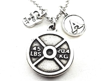 Necklace Weight Plate & Initial Fitness Workout - Fitmom Bodybuilding -Gym Gift- Sport- Coach Gift - Crosstraining Jewels- Crossfit Gift