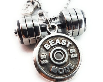 Necklace Deadlift Workout Barbell & FitPlate Motivational Weight Plate Bodybuilding Gift,Gym Fitness Gift,Sport,Strongman,Crossfit Jewelry