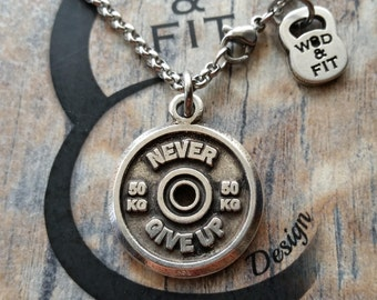 Necklace FitPlate 50kg Weight Plate Exercise Motivational Weight Plate.Bodybuilding,Coach gift,Fitmom,Fitness jewelry,FitGirl Gift,Cross Fit