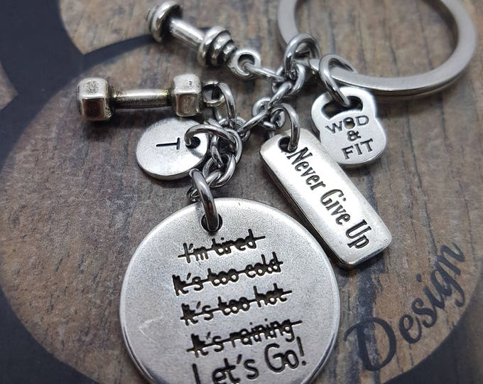 Keychain I'm STRONGER than my excuses.Lets Go! Dumbbell,Initial Letter & Motivation,Barbell Gym,Sport,Fitmom Wod,Joyas Fitness,Regalo Coach