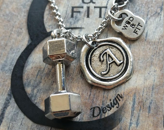 Necklace Dumbbell & Initial Letter.Motivational Fitness Workout Kettlebell,weightlifting,Bodybuilding,Dumbbell  Sport Coach Gift Wod Fitmom