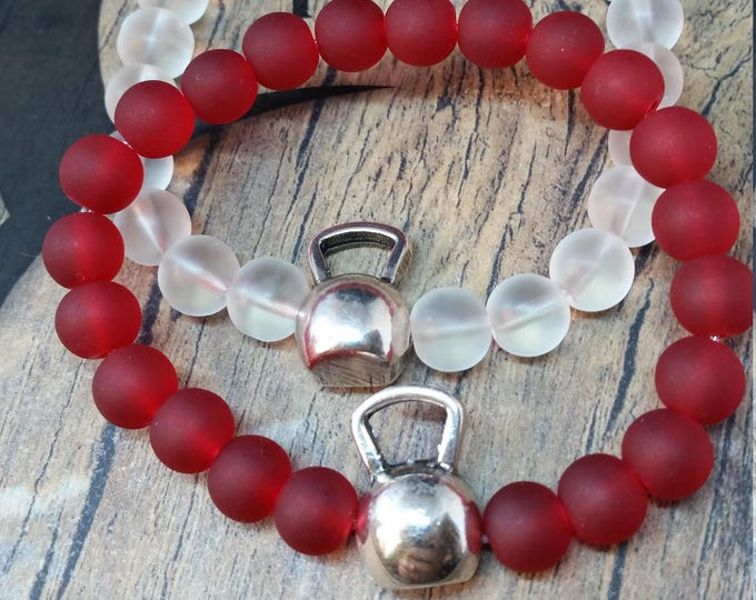 Bracelet Kettlebell Swings Workout Frosted Beads.FitGirl,Bodybuilding,Fitness jewelry,weights,Gym,Fitmom,CrossTraining Gift,weight training,