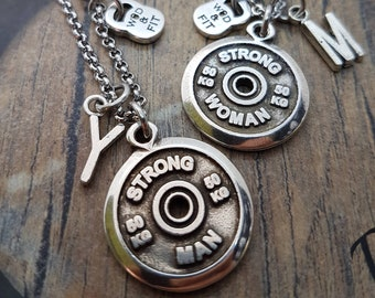 Set 2 Couple Necklace Strong Man - Strong Woman Workout gift- Initial Gift- Weight Lifter Gift - Motivational Gift - Powerlifter - Lifetr -