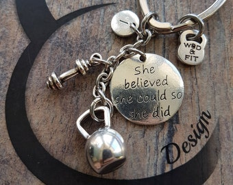 Keychain FitMom Kettlebell & Dumbbell Workout Initial letter Fitness,Motivational gift,Gym jewelry,Bodybuilding,Workout Jewelry,Fit Mom Gift