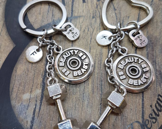 Couple Keychain Beauty & Beast Workout Dumbbell Hex FitPlate,Joyas Bodybuilding,Fitness Gift,Couple Jewels,Gift Gym,Couple gift,Cross Fit
