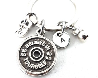 Keychain Jordan Workout Motivation Weigth Plate,Kettlebell Initial Jewelry Bodybuilding,FitnessJewelry,Gym Gift,Fit Girl,Coach Gift,Fit Mom