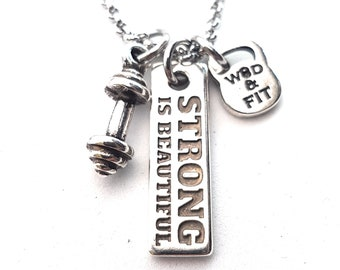 Dumbbell & Motivation Necklace Fitness Workout Fitmom Kettlebell,Bodybuilding,Gym Motivation Unisex gift Personalized Weight Custom Coach
