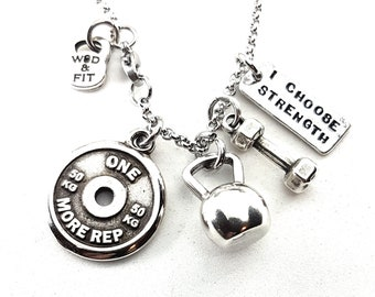 Necklace Kettlebell,Dumbbell,FitPlate & Motivation Beast 12 Workout,Bodybuilding,Coach gift,Fit Mom,FitGirl,Crossfit jewelry,Crossfit Girl
