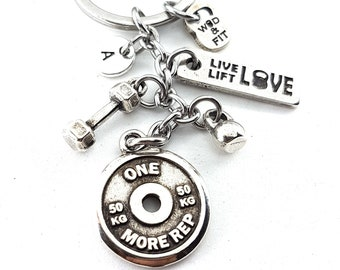 Keychain One More Rep FitPlateWorkout,Dumbbell,Kettlebell,Motivation & Initial.Bodybuilding Gift,Fitness Jewels,Gym Gift,Crossfit Jewelry