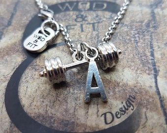 Barbell & Initial Necklace Fitness Workout,Bodybuilding,Gym,Initial Gift,Bodybuilder,WeightLifter,Powerlifter,Fitness Jewelry,Crosstraining