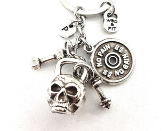 Skull Kettlebell Gym Motivation Keychain - Gym Gift - Custom  gift - gift for coach - Workout Gift - home gym - Body Building - -Wod & Fit