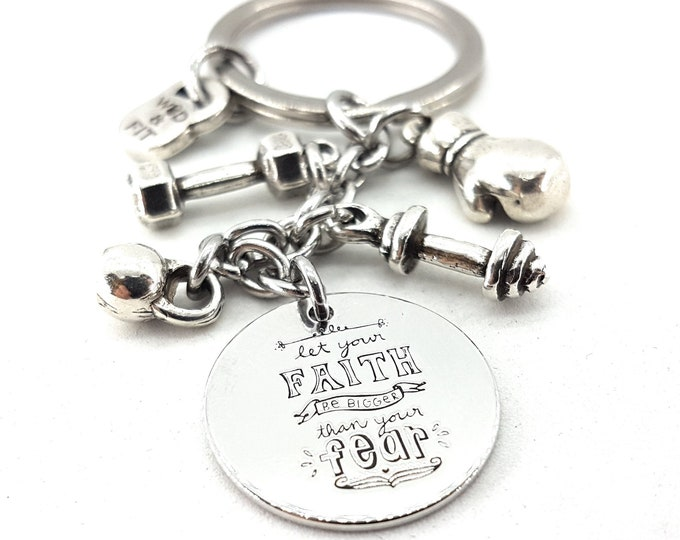 Keychain Let your FAITH Be Bigger than your FEAR,Dumbbell,Barbell,Kettlebell & Your Motivational Word.Gym Gifts,Bodybuilding,Fitness,Fitness