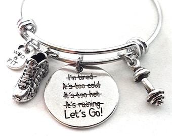 Bracelet for Runner Fit Runner Bracelet Lets Go! Runner Shoe & Initial- Gift For Runner - Fitness Jewelry - Running Gift - Runner Girl Gift