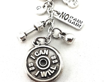 Keychain I Can/I Will Workout Dumbbell,Kettlebell,Motivation & Initial.Bodybuilding,Fitness Jewelery,Fitmom,Crossfit gift,Sport Jewelry,Wod