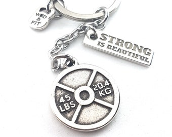 Gym Gift Keychain Weight Plate Snatch and Jerk - Workout Gift - Fitness gifts - Exercise Gift - strength jewelry - fitness motivation Gift