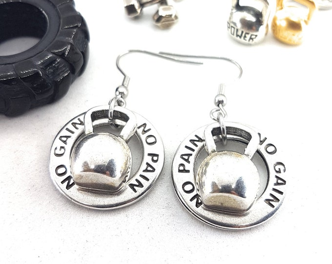 Earrings Kettlebell Fitness Girl Workout,Motivational Gift,FitMom,Gym,Bodybuilding,Fitness Gift,Cross fit Gift,Fitness Jewelry,Fitness Girl