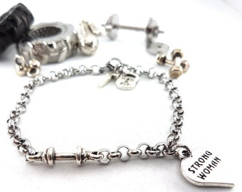 Bracelet Barbell Workout.Motivational Gift,Fitness Girl Gift,Gym Motivation,Bodybuilding Fitness,No Pain No Gain,Fit Mom,Gym Gift,Wod & Fit