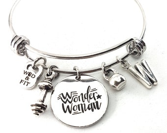 Bracelet Wonder Woman Workout,Barbell,Kettlebell & Initial Letter.Fitness,Motivational Gift,Gym Gifts,Womans Gifts,FitGirl,Crossfit Girl,Wod