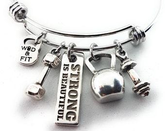 Bracelet Fitness Katrín Workout gift Kettlebell,Dumbbell,Barbell & Motivation. Gym Gift -Fitness Girl - Bodybuilding  Crossfit Girl Bracelet