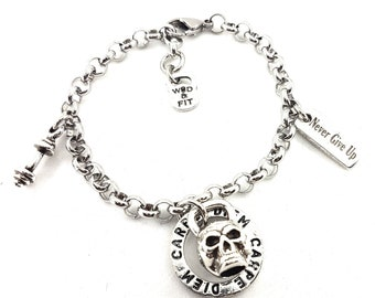 Bracelet Kettlebell Skull Workout & Motivation.JoyasBodybuilding,Gym,Fit Girl,Crossfit Girl,Fitness Gift,Gym Skull Jewelry,Crossfit gift