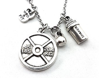 Gym Necklace Weight lifter Workout gift Weight Plate 45lbs- Motivation Gift - Strength jewelry - Gym Gifts - Gym Coach Gift - Exercise gifts