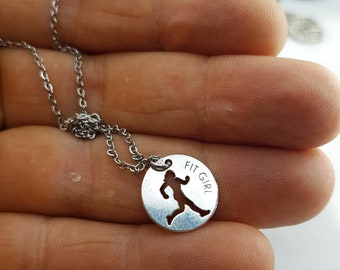 Necklace Silver Fit Girl Bodybuilding Jewelry,Fitness Jewelry,Coach Gift,Fit Girl Jewels,Gym,Fit Mom,FitGirl Gift,Girl Gift,Woman Gift,Wod