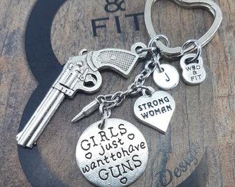 Keychain Fitness Girls just want to have guns Gun & Motivation Word.Womens gift,gift for her,womens gift ideas,unique gift,jewelry gift,Girl